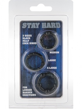 Stay Hard - Penisringar, svart (3-pack)