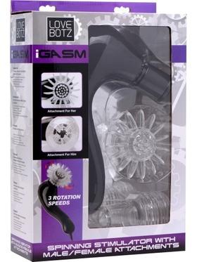 LoveBotz - iGasm, Spinning Stimulator with Male/Female Attachments