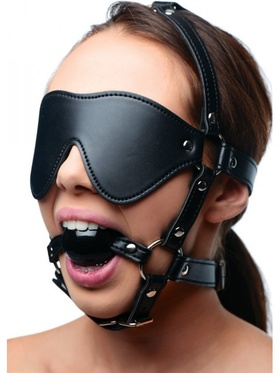 Strict - Blindfold Harness + Ball Gag
